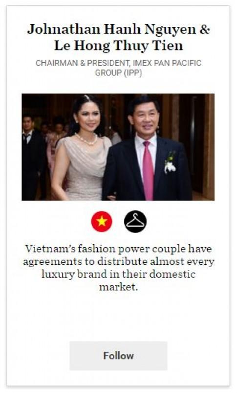 Vợ chồng cựu diễn viên Thủy Tiên có ảnh hưởng lớn tại làng thời trang thế giới