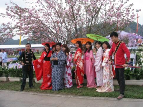 Co hoi mac kimono chup anh voi hoa anh dao o Ha Long