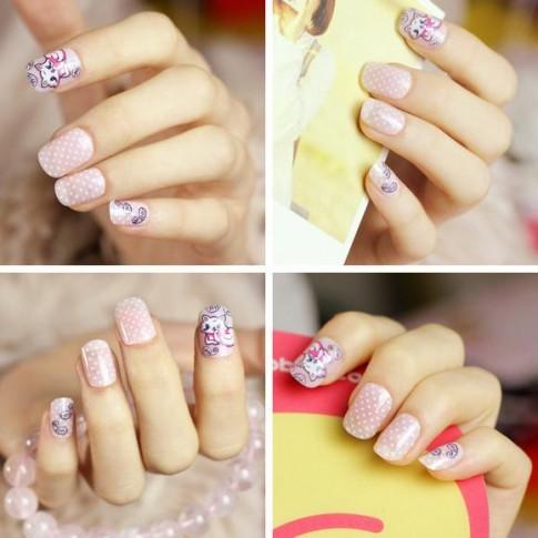 Top 15 mẫu móng tay nail hoạt hình đẹp dễ thương cho bạn gái 2017