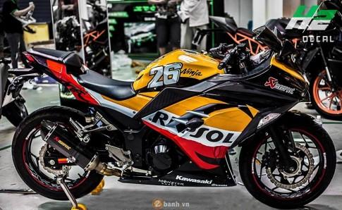 Sport Bike thanh pho Ninja 300 thoat xac phong cach Repsol Pedrosa