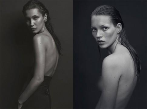 Bella Hadid tái hiện hình ảnh bán nude của Kate Moss