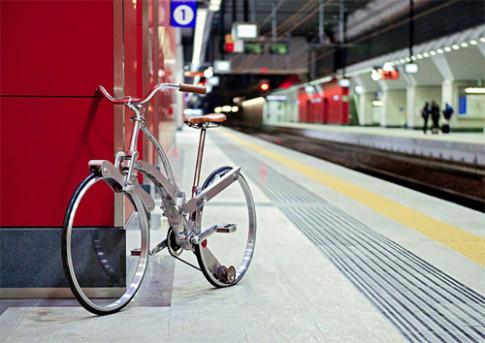 Xe đạp gọn bằng chiếc ô