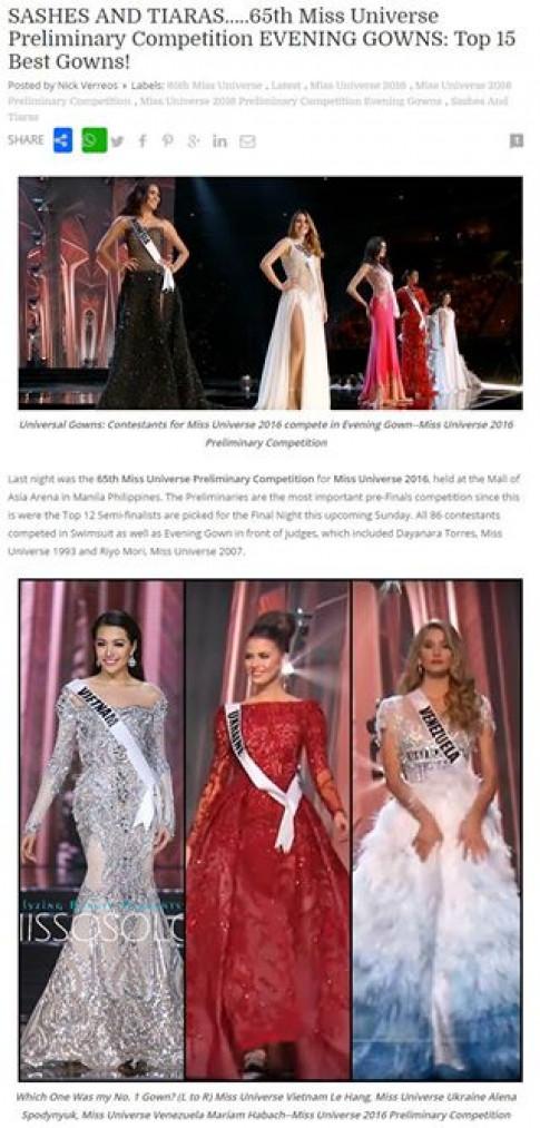 Váy dạ hội đẹp xuất sắc, tin vui lại đến với Lệ Hằng tại Miss Universe 2016