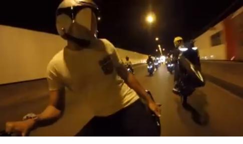 [Clip] Đoàn Exciter 150 nổi loạn trong hầm chui vượt núi