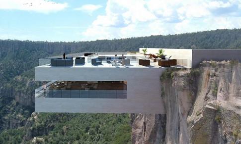 Quán bar chênh vênh trên vách núi ở Mexico