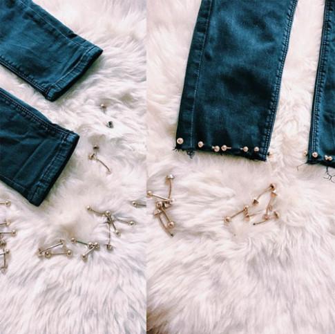 Minh Hang huong dan cach tai che cho chiec quan jeans cu