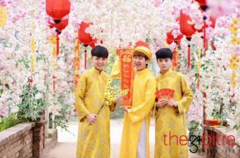 """3 chang hot boy """"dinh dam"""" Ha Thanh cuc dang yeu trong bo anh don xuan"""