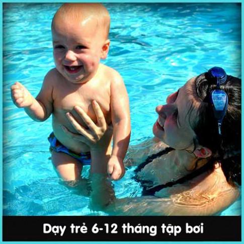 Chẳng khó dạy bé sơ sinh học bơi