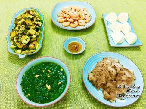 Thực đơn cơm chiều có ốc nấu chuối đậu, tôm rim nước dừa ai nghe cũng thấy thèm