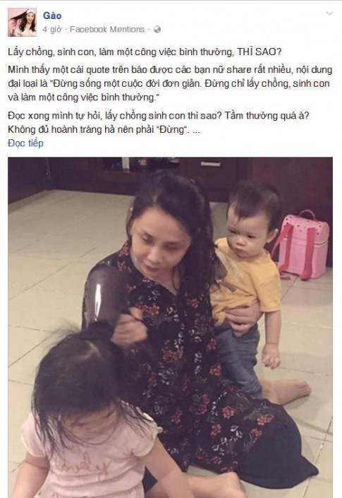"Nha van Gao: ""Lay chong, sinh con, lam mot cong viec binh thuong, THI SAO?"""