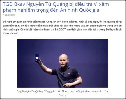 Tin 'Tong giam doc Bkav Nguyen Tu Quang bi de nghi dieu tra' la hoan toan bia dat