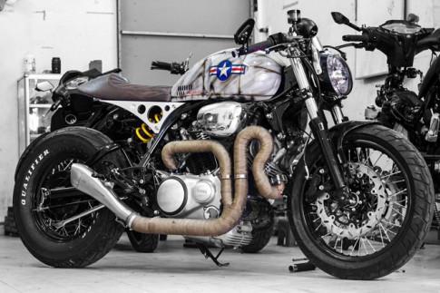 Yamaha XV750 lot xac ngoan muc voi ban do Cafe Racer tai Sai Gon