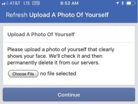 Facebook khoa tai khoan, doi nguoi dung upload anh selfie neu muon tiep tuc su dung