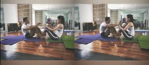 Ho Ngoc Ha khoe clip tap yoga cung Kim Ly, xoa tan tin don 'duong ai nay di'