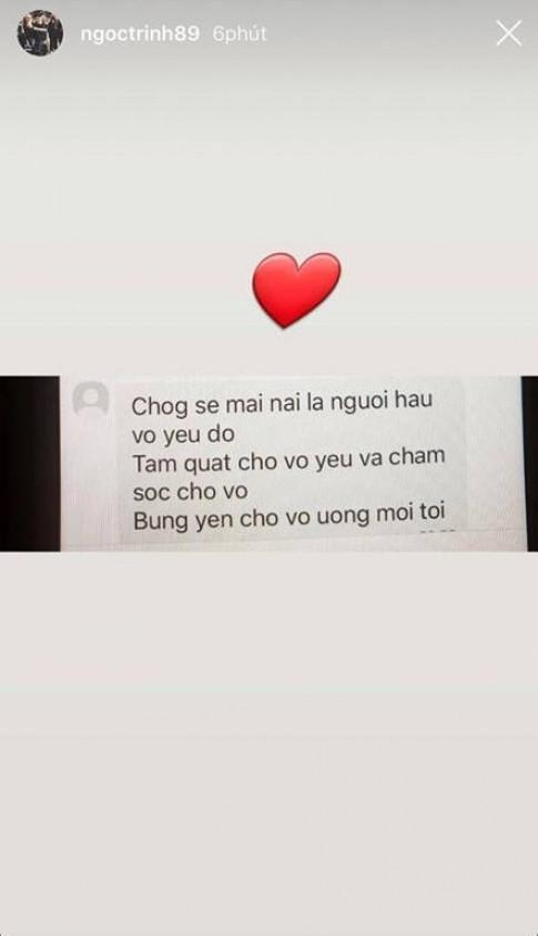 Ngoc Trinh khoe tin nhan duoc ban trai 'nguyen lam nguoi hau, cung phung bung yen cho an ca doi'