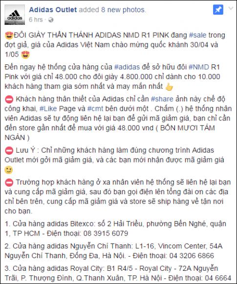 """Dai dien adidas Viet Nam: """"Khong co chuyen giam gia doi giay 4,8 trieu chi con 48 nghin dong"""""""