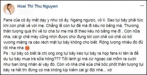 Hoa hau Thu Hoai buc xuc viet facebook, 'Fans cua co ay mat day y nhu co ay'