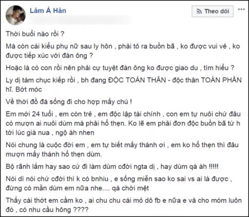 Lâm Á Hân đòi 'vả mỏ' cư dân mạng khi bị chỉ trích vì 'hôn nhau mùi mẫn với Nhikolai Đinh' sau ly hôn chồng