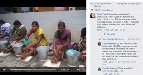 Dân mạng thế giới tranh cãi vì clip tắm bé ở Ấn Độ