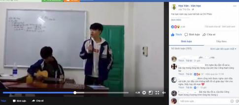 """Nhóm nam sinh Phú Thọ đàn hát """"Chí Phèo"""", minh họa tác phẩm trong giờ văn"""