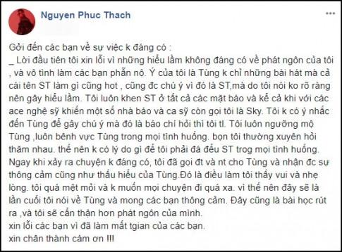 Only C xin loi vi phat ngon 'va mieng': 'Nhieu nguoi goi toi la Sky va toi luon nguong mo Son Tung'
