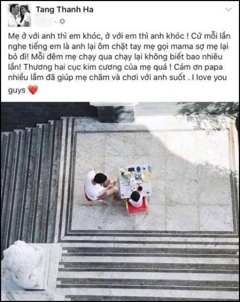 Tang Thanh Ha da sinh con thu hai va dang ban biu cham soc cung luc 2 con nho