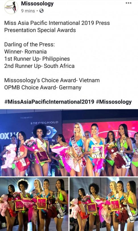 Thu Hien la dai dien thu hai cua Viet Nam dat giai binh chon tai Miss Asia Pacific