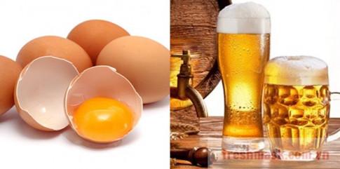Chuẩn bị 1 bia, 1 trứng gà bạn sẽ có làn da trắng mịn hơn dùng kem trộn nhiều lần