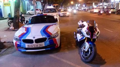Cap doi sieu xe BMW song hanh tren pho