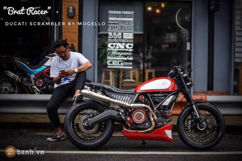 Ducati Scrambler noi loan voi phong cach Tracker mang ten Brat Racer