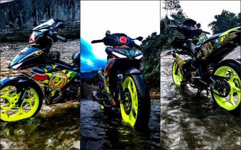 Exciter 150 do ruc ro voi phong cach Rossi cua biker Thai Binh
