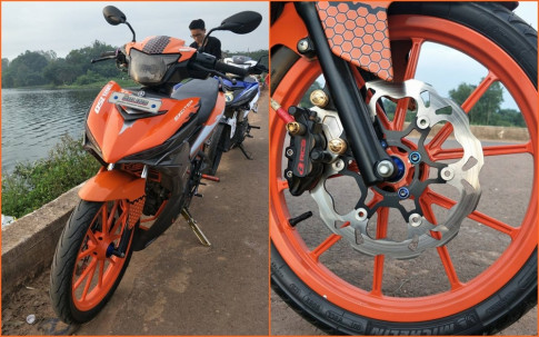 Exciter 150 độ đơn giản với sắc cam nổi bật của biker Bình Định