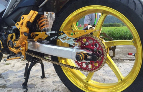 Exciter 150 do kieng ' banh beo ' day ham ho cua biker Thanh Hoa