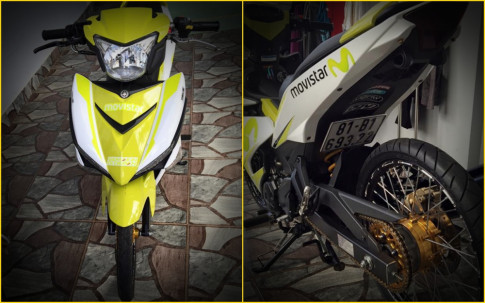 Exciter 150 độ nổi bật với bộ cánh ' Xanh Neon ' của biker phố núi