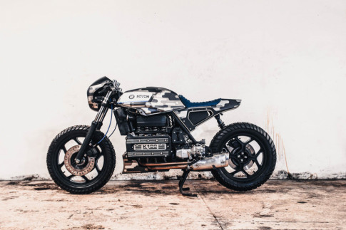 BMW K100 Cafe Racer mang phong cach dam chat quan doi