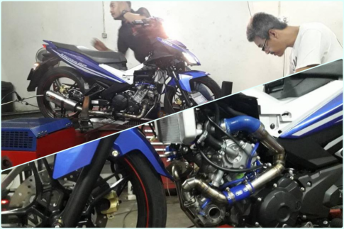 Can canh Exciter 150 do Turbo ham ho cua biker nuoc ban