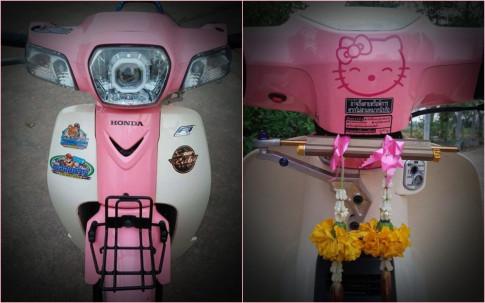 Honda Cub Fi do dam chat 'banh beo' voi bo canh Hello Kitty dang yeu