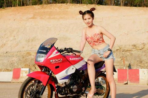 Kawasaki Kips 150 do khoe dang cung teen girl nong bong o xu so chua vang